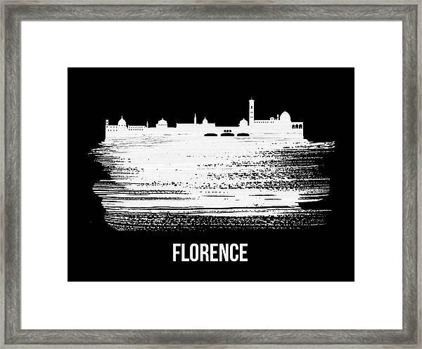 Florence Skyline Brush Stroke White Framed Print