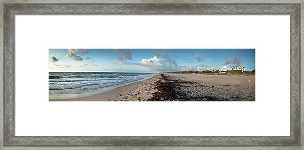 Florida Beach With Gentle Waves And Framed Print
