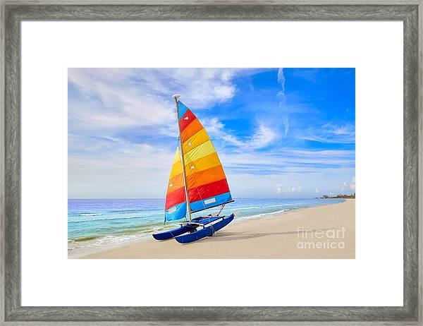 Florida Fort Myers Beach Catamaran Framed Print