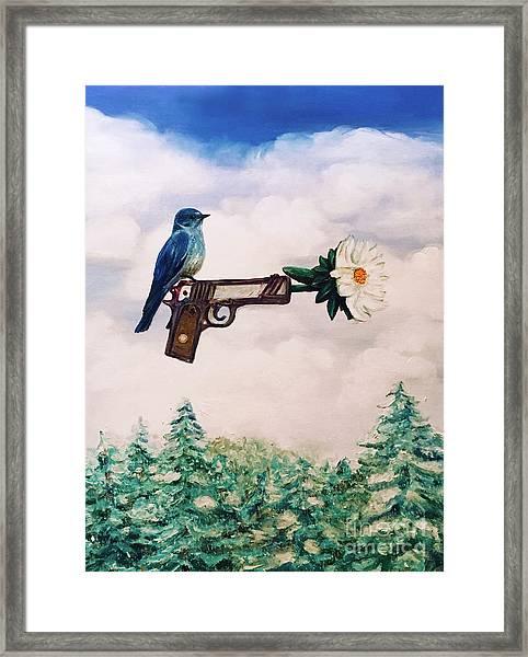 Flower In A Gun- Bluebird Of Happiness Framed Print
