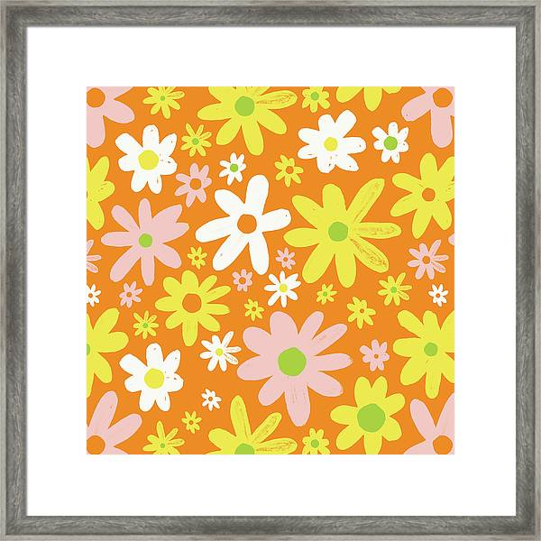 Flower Power Pattern Framed Print