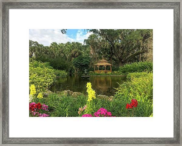 Flowers To Gazebo By The Lake Framed Print