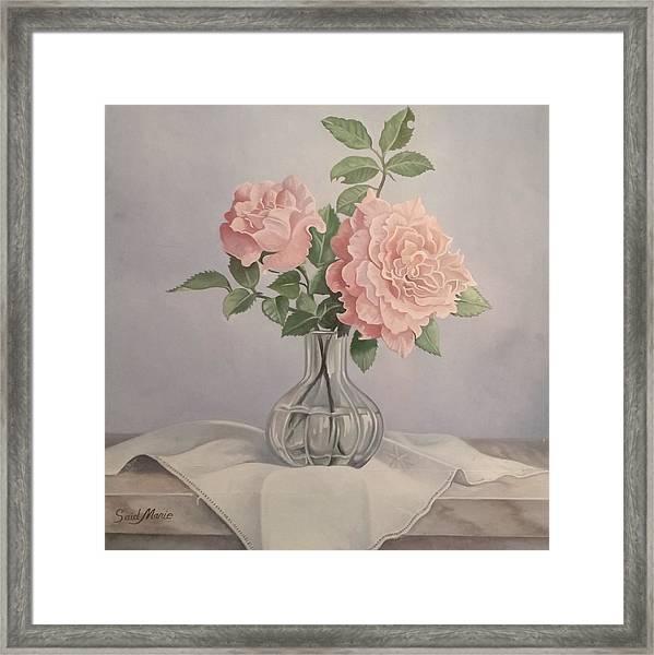 Framed Print featuring the painting Flowers Vase by Said M Marie