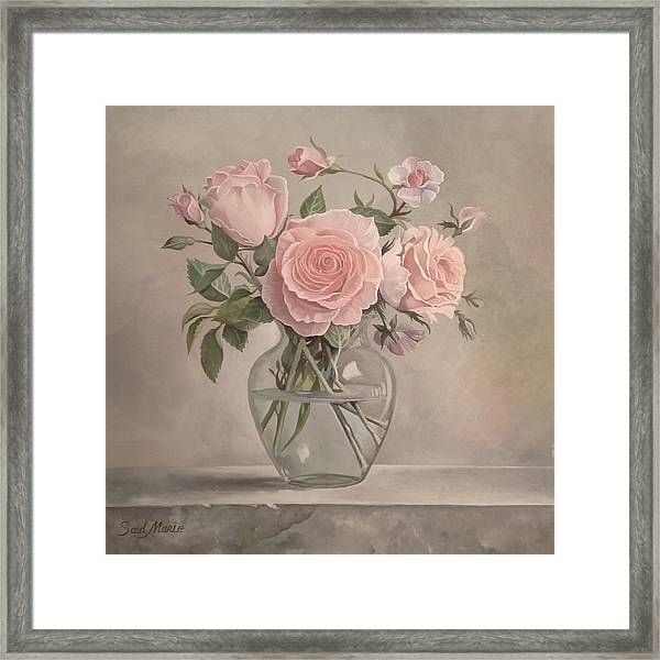 Framed Print featuring the painting Flowers Vase by Said Marie