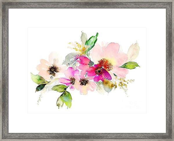 Flowers Watercolor Illustration. Manual Framed Print