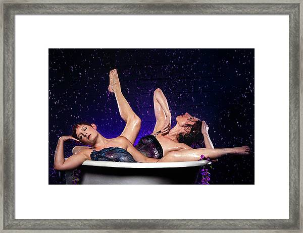 Achelois And Sister Bathing In The Galaxy Framed Print