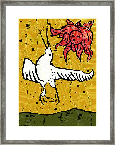 Flying Bird And Red Sun Face Framed Print
