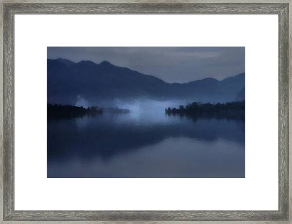 Fog On The Dark Mountain Lake Framed Print