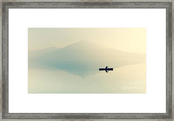 Fog Over The Lake. Silhouette Of Framed Print by Maryna Patzen