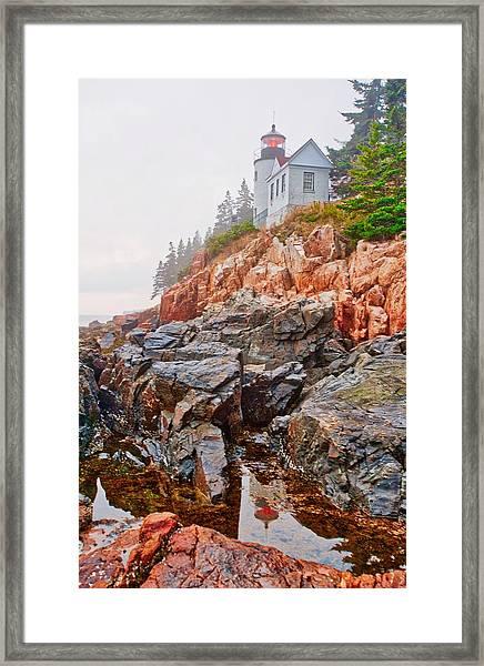 Foggy Bass Harbor Lighthouse Framed Print