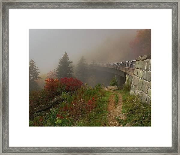 Foggy Blue Ridge Parkway - Linn Cove Viaduct Fall Framed Print