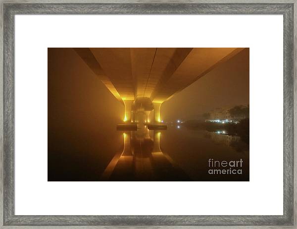 Framed Print featuring the photograph Foggy Bridge Glow by Tom Claud
