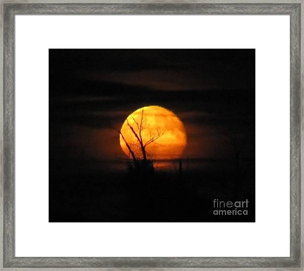 Foggy Harvest Moon Framed Print