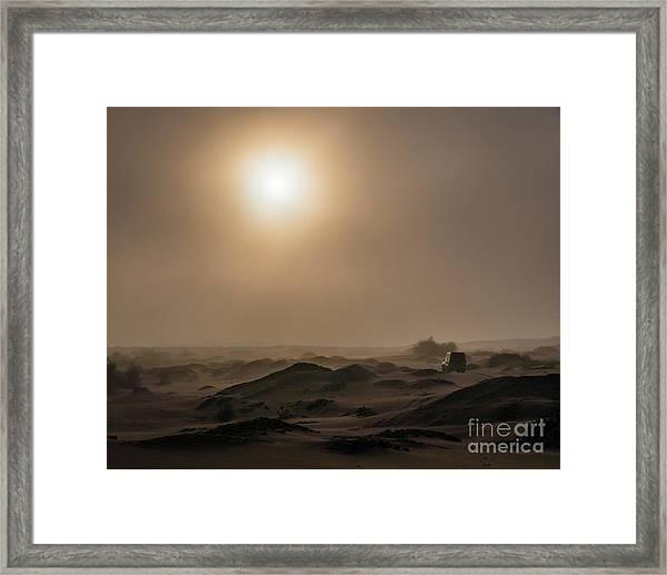 Foggy Morning In The Namib Desert Framed Print