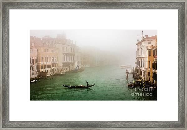 Foggy Morning On The Grand Canale, Venezia, Italy Framed Print