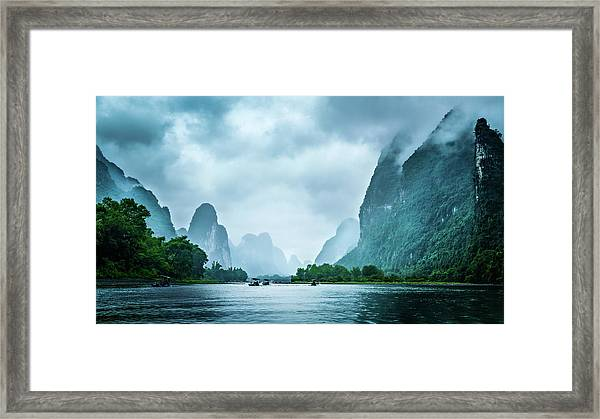 Framed Print featuring the digital art Foggy Morning On The Li River  by Kevin McClish