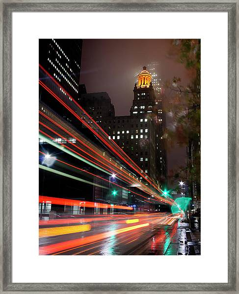 Foggy Night, City Lights Framed Print by Bill Barfield