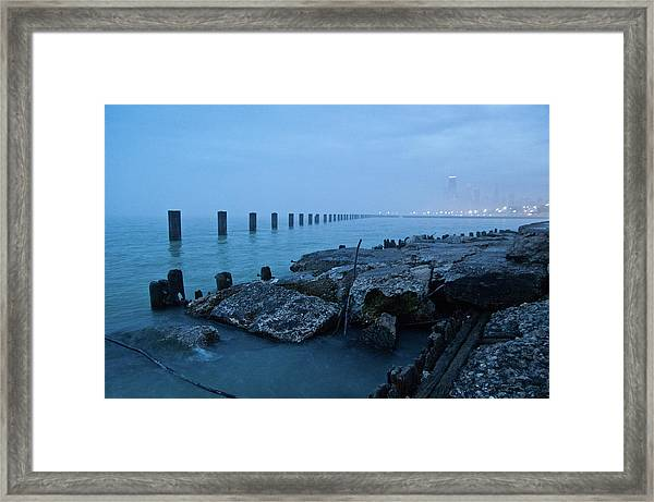 Foggy View Of Chicago From Lakeshore Framed Print by Megan Ahrens