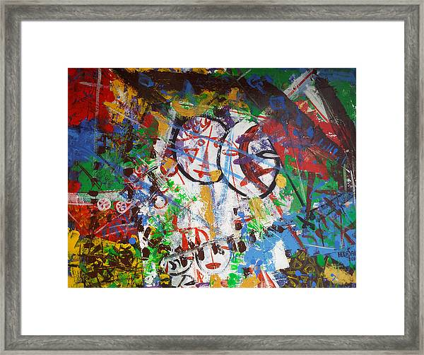 Framed Print featuring the painting Folk Art In Tent by Hoda Said Ibrahim