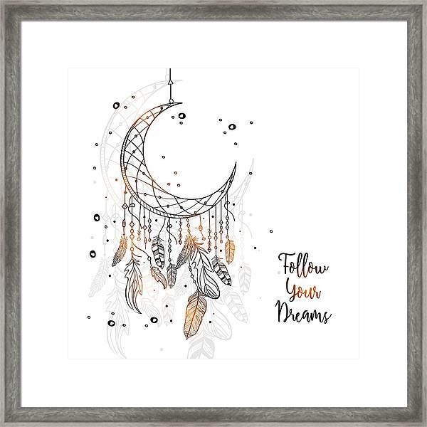 Follow Your Dreamcatcher - Boho Chic Ethnic Nursery Art Poster Print Framed Print