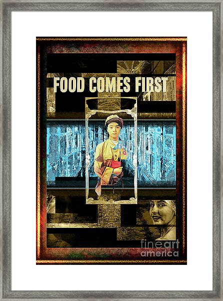 Food Comes First Framed Print by John Groves