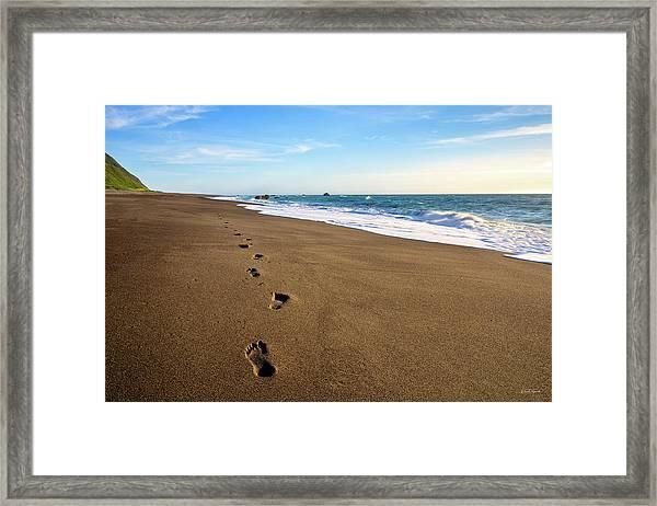 Footprints In Lost Coast Sand Framed Print