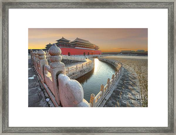 Forbidden City In China During Sunset Framed Print