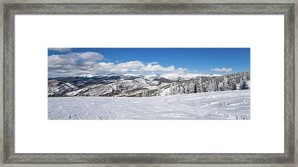 Forest Covered By Snow With Skiing Framed Print