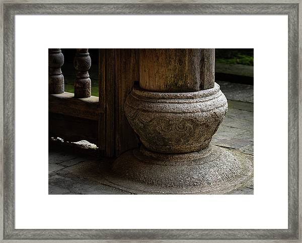 Foundation Stone Under Wooden Pole Used In Chinese Architecture Framed Print