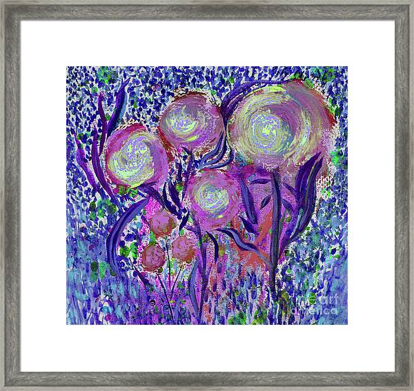 Four Pink Flowers In Blue Framed Print