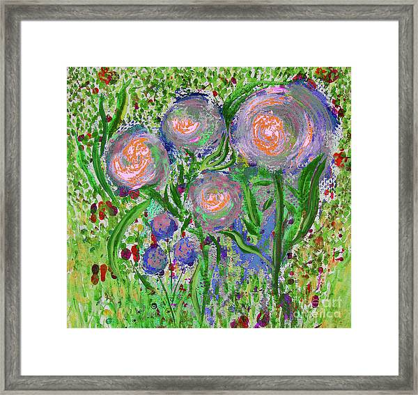Four Pink Flowers In Green Framed Print