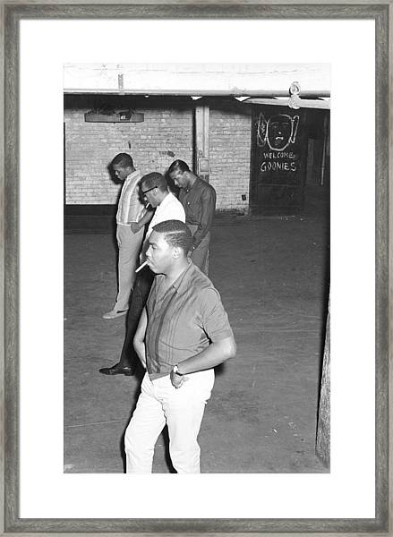 Four Tops Rehearsing In The Basement Framed Print