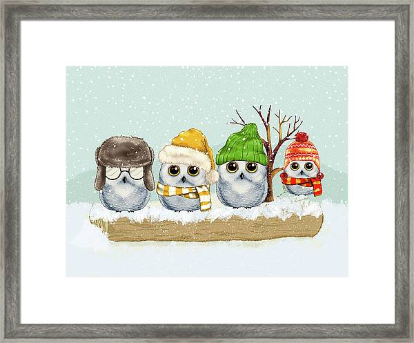 Four Winter Owls Framed Print