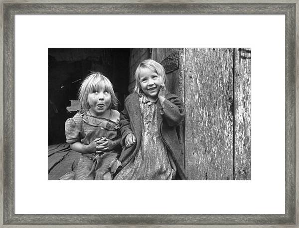 Four Year Old Flora L And Her Sister Framed Print