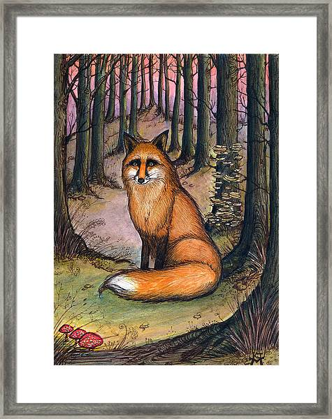 Fox In The Woods Framed Print