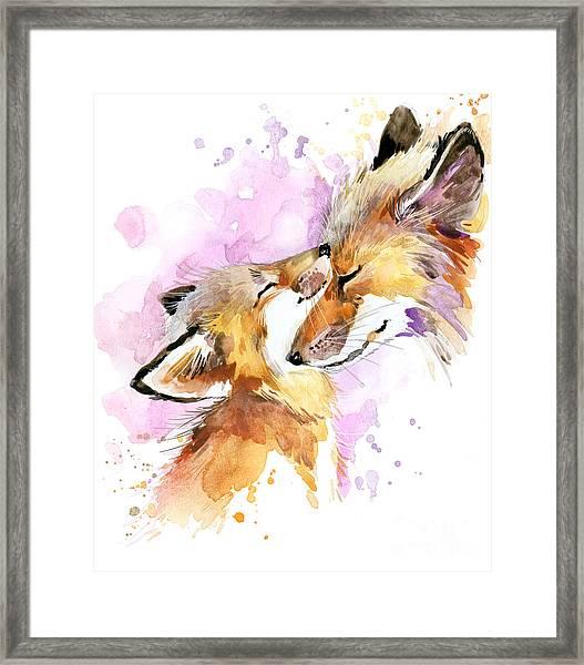 Fox Watercolor Illustration. Mothers Framed Print