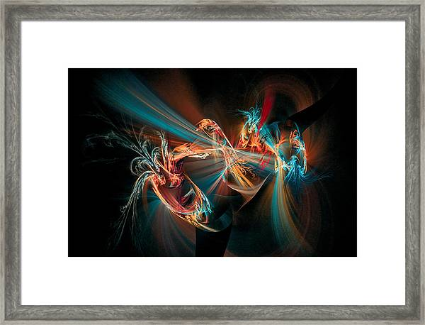 Fractal Spawn Blue Framed Print