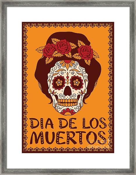 Frame With Mexican Skull Girl Framed Print