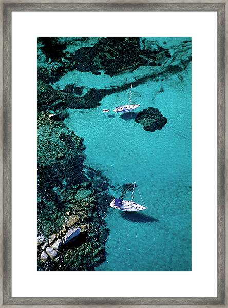 France, Corse Du Sud, Boats Anchored In Framed Print