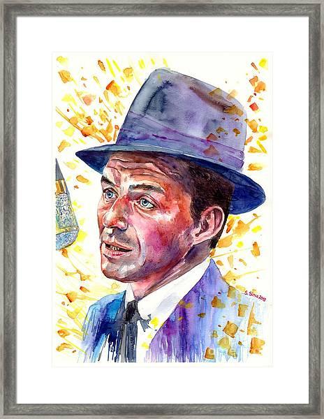 Frank Sinatra Singing Framed Print