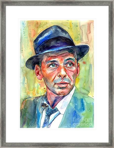Frank Sinatra Wearing A Fedora Framed Print