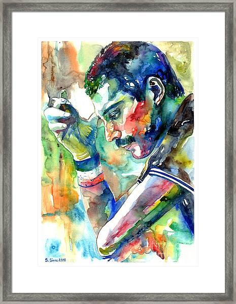Freddie Mercury With Cigarette Framed Print