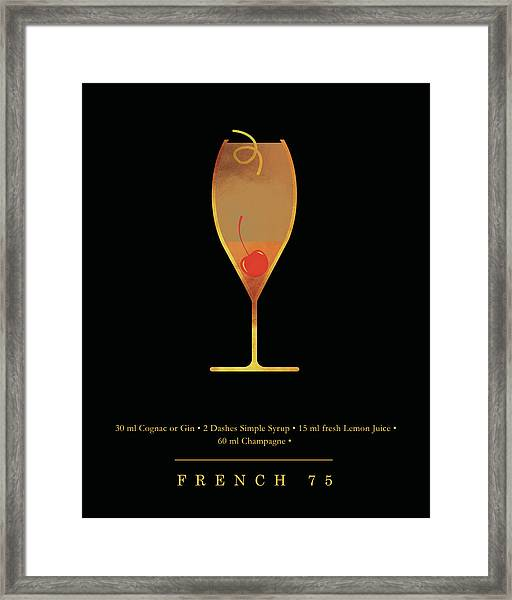 French 75 Cocktail - Classic Cocktails Series - Black And Gold - Modern, Minimal Decor Framed Print