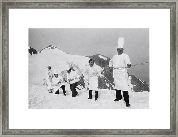 French Chefs At L Alpe D Huez In 1983 Framed Print
