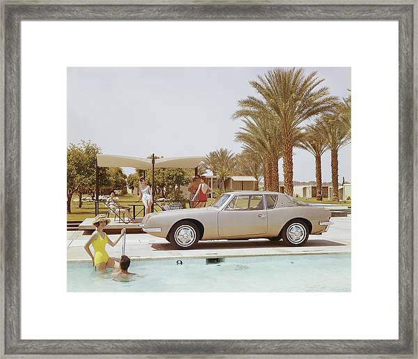 Friends Having Fun Near Pool Framed Print