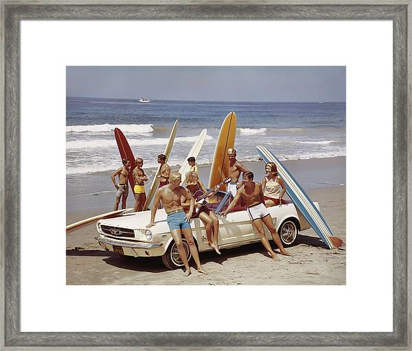Friends Having Fun On Beach Framed Print