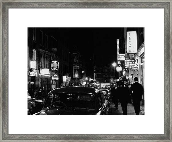 Frith Street By Night Framed Print