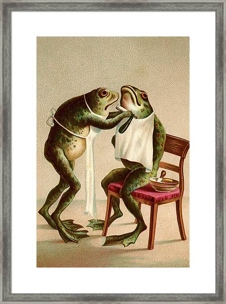 Frog Getting A Shave Framed Print