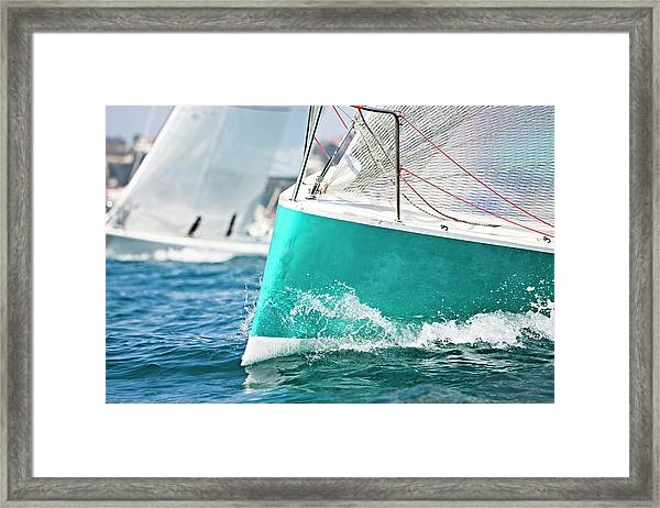 Front Of A Sailing Boat In A Regatta Framed Print
