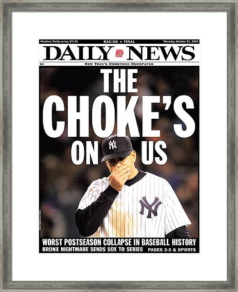 Front Page Of The New York Daily News Framed Print